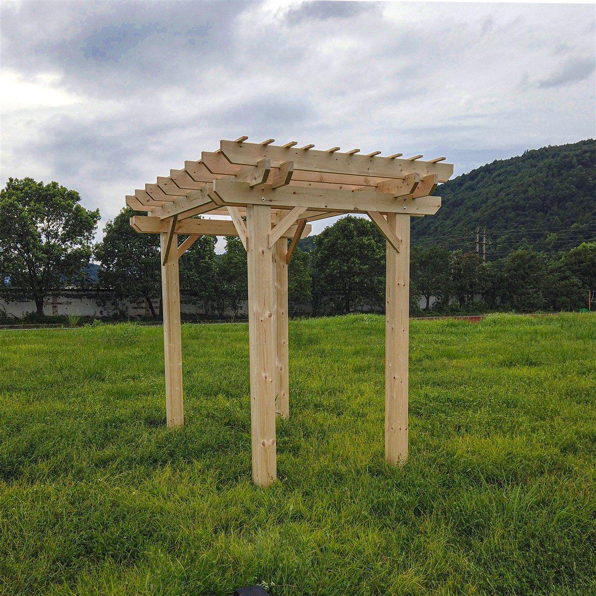Photo of ALEKO Premium Outdoor Wooden Arbor Topped Pergola – 7 x 8 Feet WPERGPI01-AP