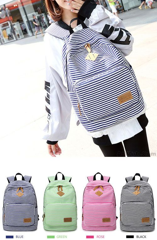 Summer Blue Striped Leisure Canvas College Backpack which color do you  want   stripe  backpack  college  school  bag  women  rucksack 190913884a657