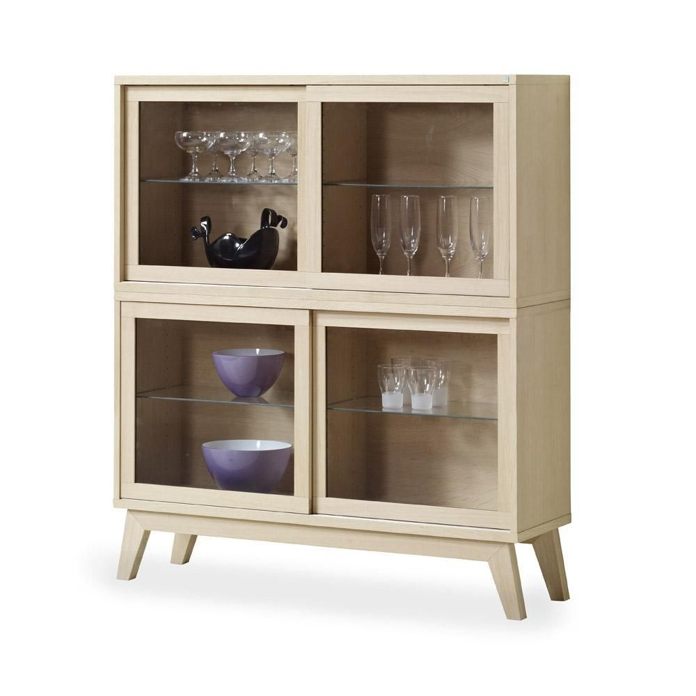 Furniture Cool Pine Wood Display Cabinet For Saving Dining Sets Wth Four Beautiful Glass