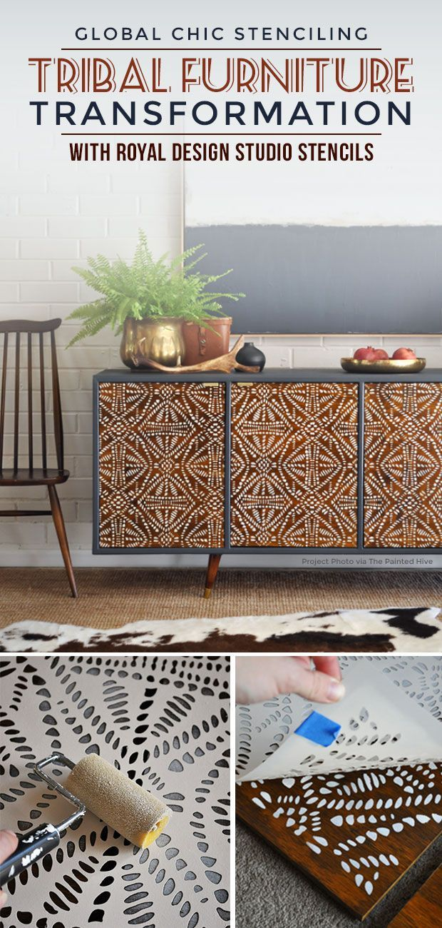 Global Chic Stenciling: A Tribal Furniture Transformation