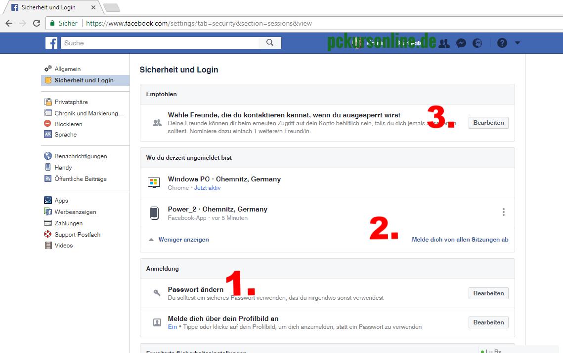 Facebook, Einstellung, Sicherheit, Login, Konto, gehackt