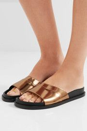Mirrored-leather slides