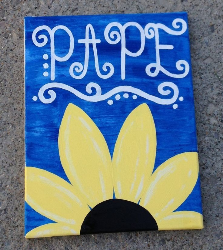 Cute flower canvas paint idea for wall decor. Canvas painting. Wall ...
