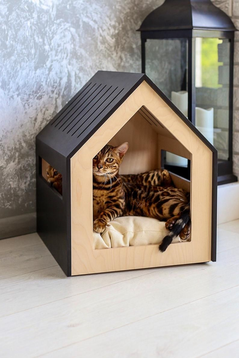 Modern Dog And Cat House Dog Bed Cat Bed Wooden Pet House Modern Pet House Modern Pets Furniture Dog Pillow Cat Pillow Indoor Dog House In 2021 Cat House Modern Pet Furniture Modern Dog