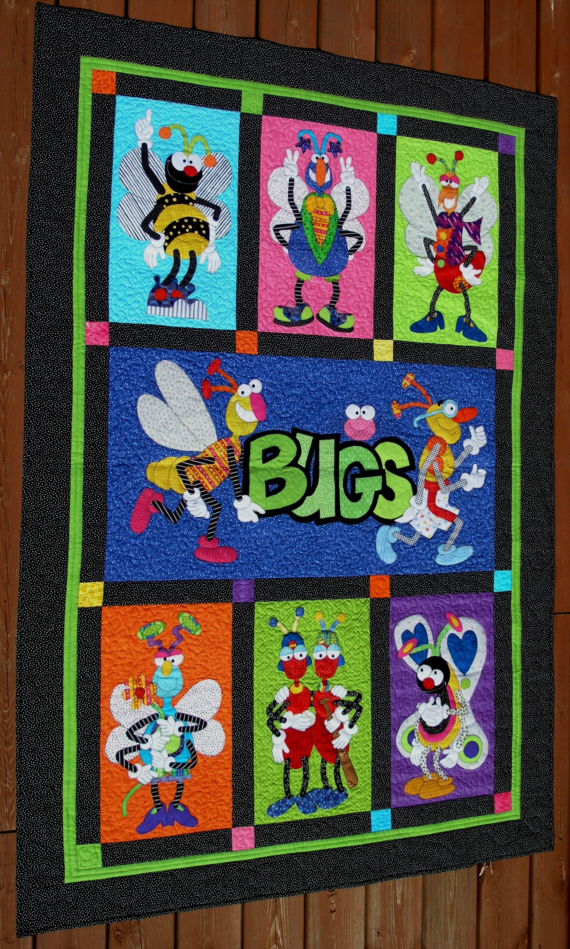 Applique Quot Bugs Quot Quilt I Like The Different Coloured