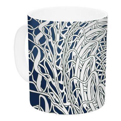 KESS InHouse Mandala Spin Navy by Patternmuse 11 oz. Ceramic Coffee Mug
