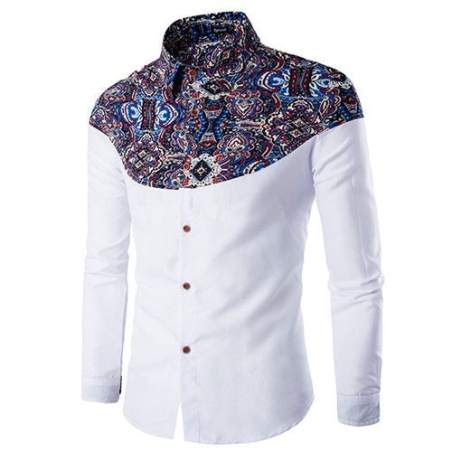 Luxury Brand Mens Dress Shirts 2016 Fashion Floral Printed Long Sleeve Men  Shirt Chemise Homme Casual
