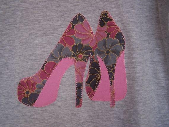 Camiseta Zapatos Tacon Patchwork Y Aplicaciones