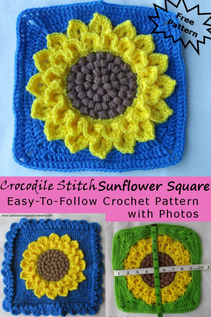 Crocodile Stitch Sunflower Square Crochet Pattern   Stricken Häckeln ...
