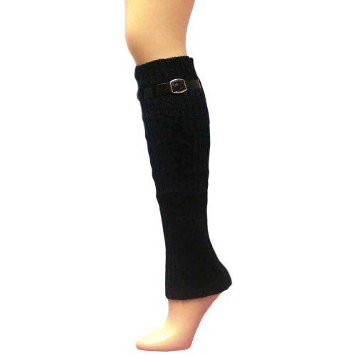 Luxury Divas Navy Blue Knit Leg Warmers With Adjustable Skinny Belt Trim - Listing price: $19.00 Now: $13.99