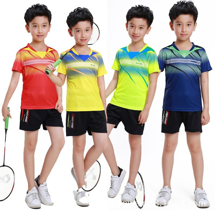 Badminton Short Sleeved Shirt Suit Children Jersey Ball Movement Breathable Sportswear Kit Sports Badminton Tab Badminton Shirt Tennis Clothes Badminton Shorts