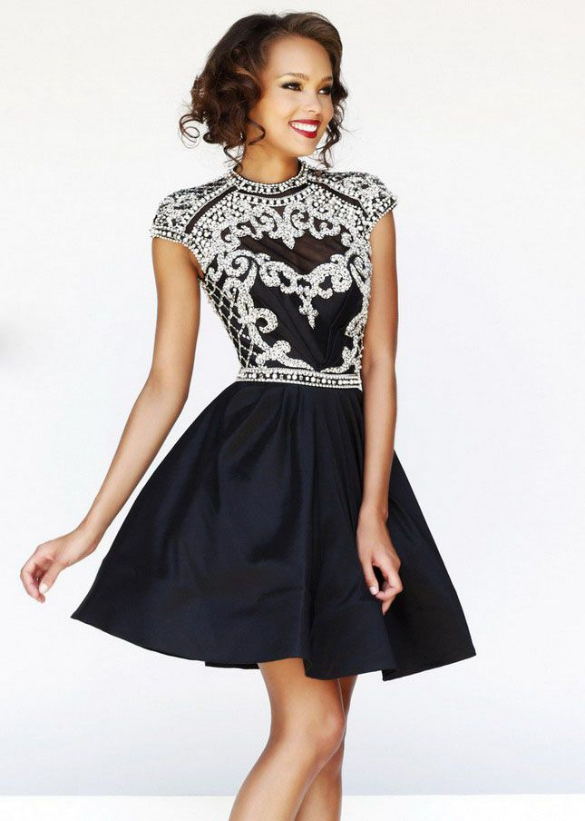 Silver Jeweled Black Cutout Back Short Turtle Neck Prom Dress [SH ...