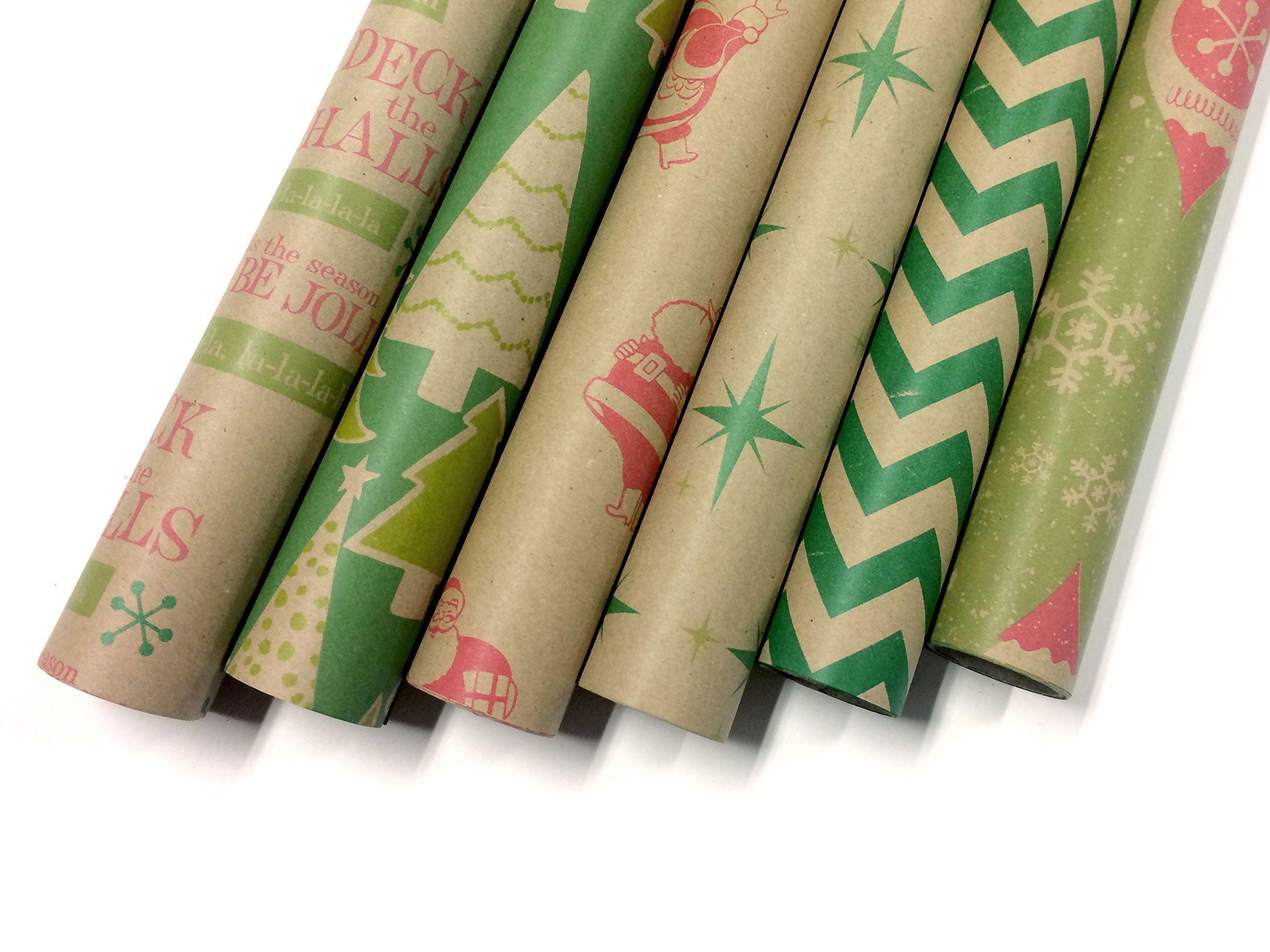 Kraft Retro Wrapping Paper Set 6 Rolls Multiple Patterns 30