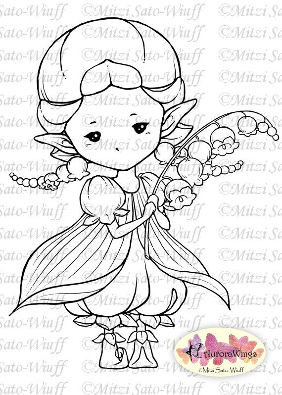 Digital stamp lily of the valley sprite whimsical flower fae digital stamp lily of the valley sprite whimsical flower fae digistamp fantasy line art for cards crafts by mitzi sato wiuff altavistaventures Images