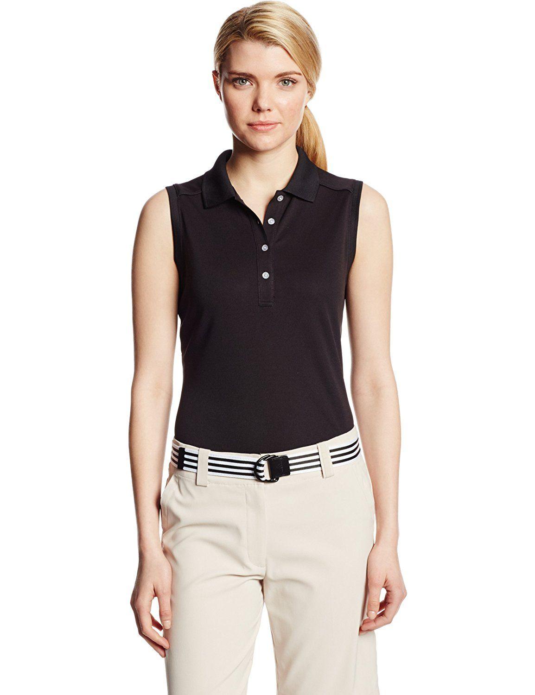 Callaway Womens Sleeveless Polo Shirt With Rib Collar This Is An