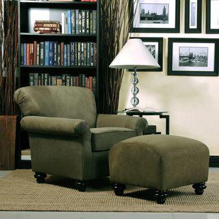 Portfolio Capri Moss Green Microfiber Arm Chair And Ottoman Fabric