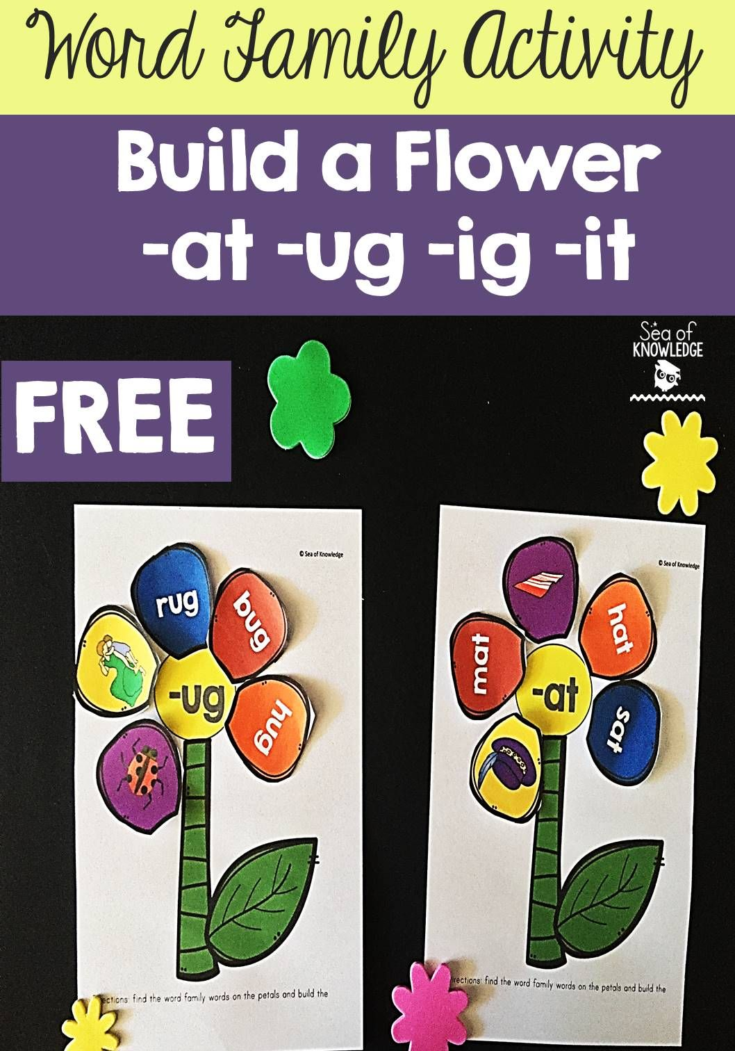 Word Family Activity Build A Flower At Ug Ig It