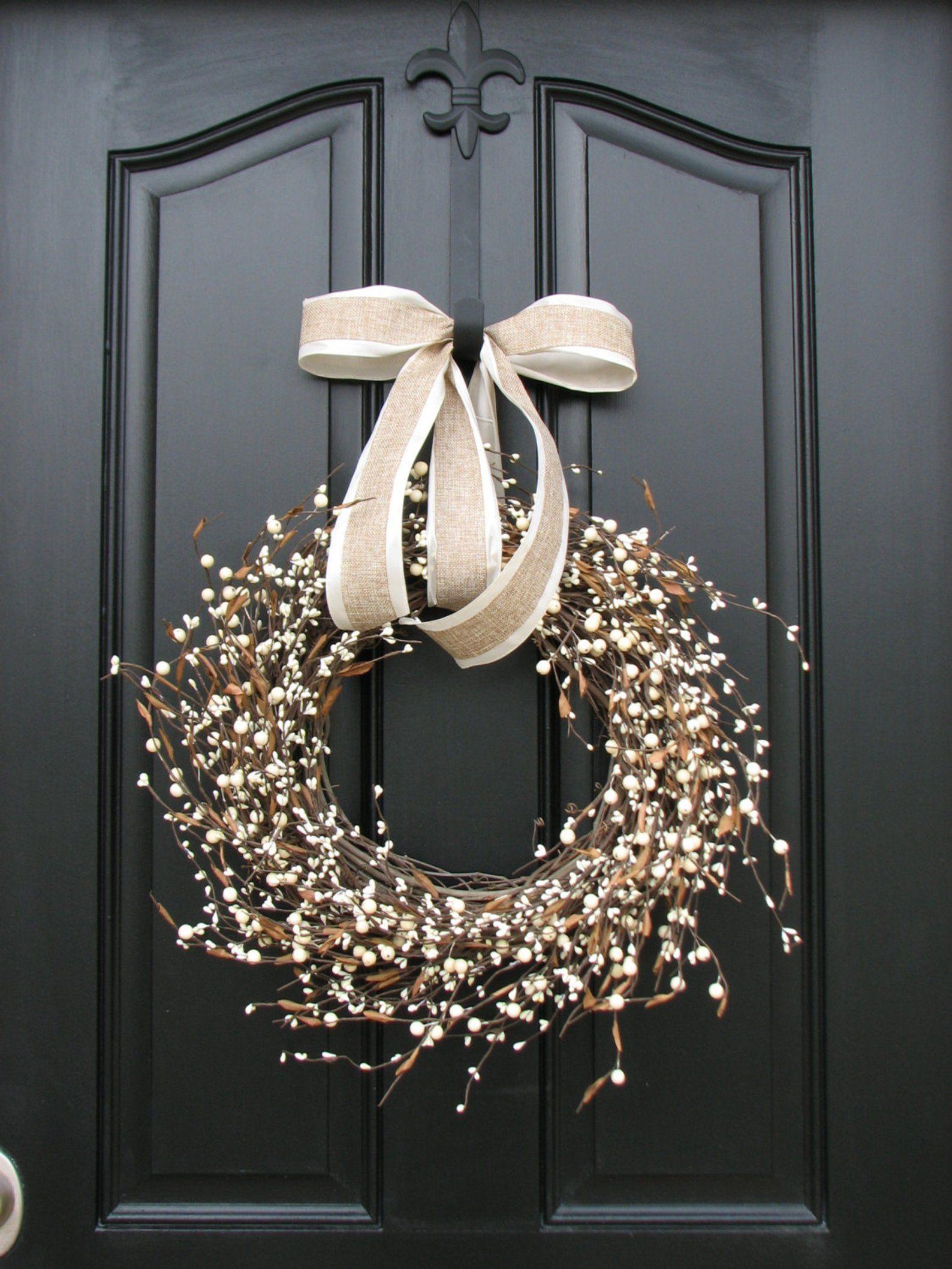Year Round Door Decor Summer Wreath Shabby Chic Wreath Cream Berry Wreath