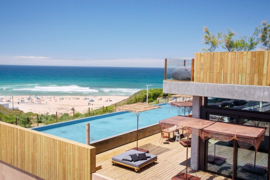 Solar Powered Eco Hotel In Portugal Offers Surfers Ocean Views From Green Roofed Bungalows Surf House Beach House Restaurant Hotels Portugal
