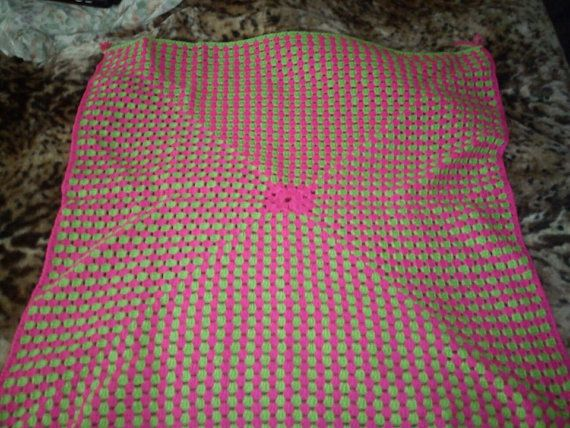 BRIGHT PINK & GREEN Baby Blanket