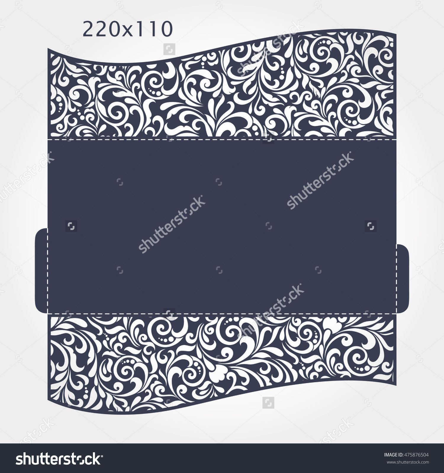 Wedding Invitation Baroque. Template for laser cutting. Open card ...
