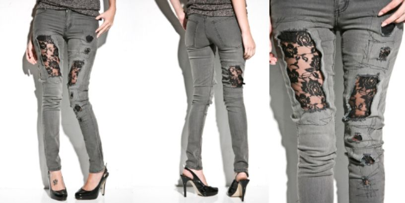 lace inserts that fill in the holes in these distressed jeans.  You could use any color lace but black and ecru or white would work best I think.