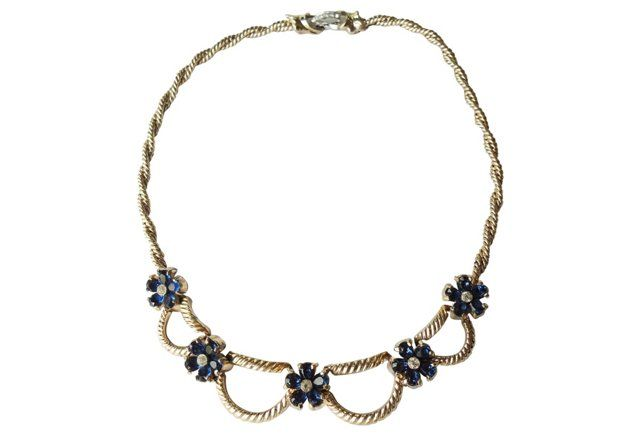 Jomaz Faux-Sapphire Flower Necklace