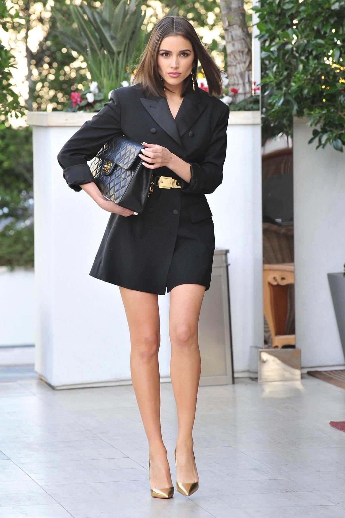 e4fb28841b3 Olivia Culpo wearing Chanel Quilted Flap Xl Bag