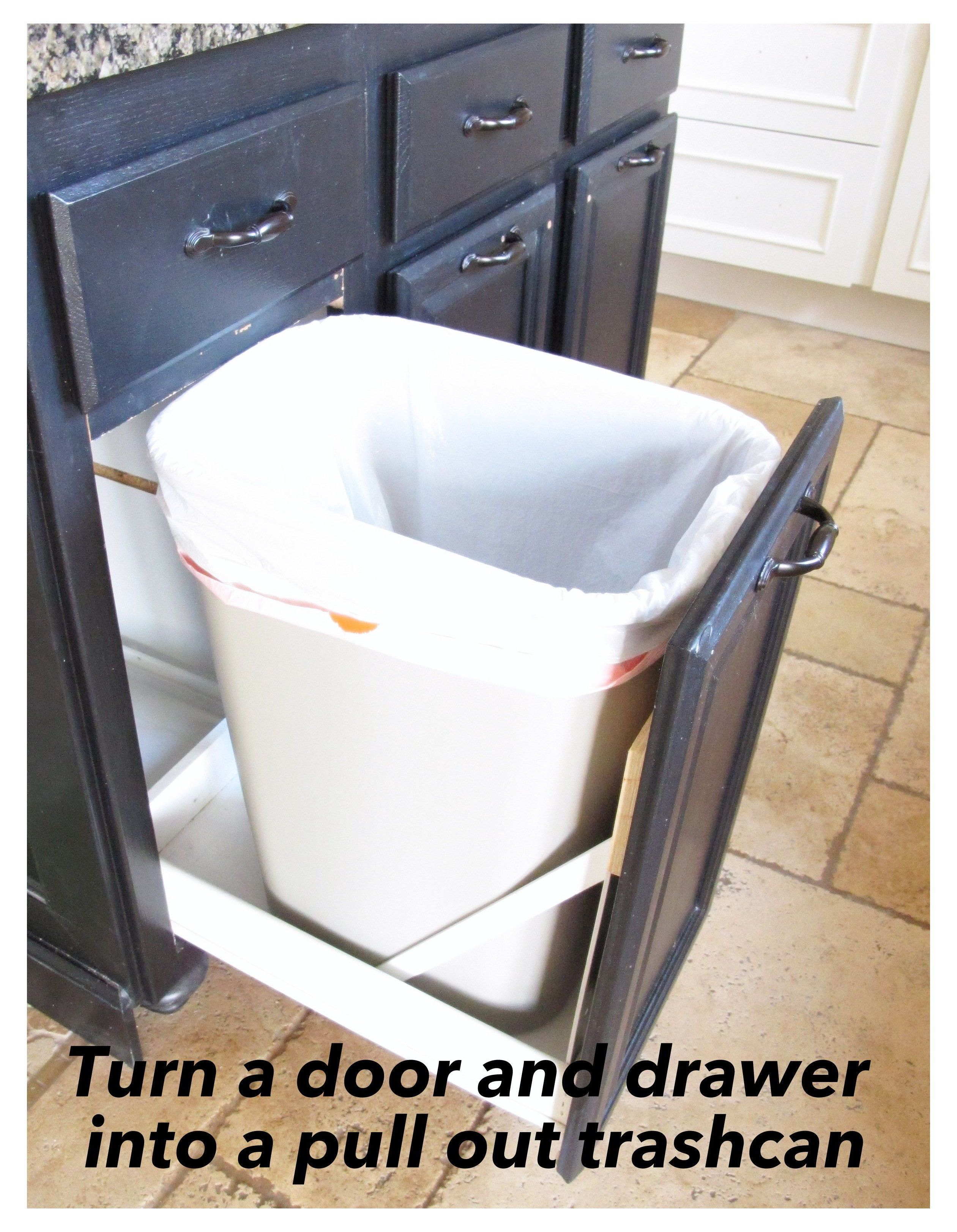 Turn A Door And A Drawer Into A Pull Out Trash Can Step By Step With Pictures On How To Turn A Door An In 2020 Kitchen Trash Cans Pull Out
