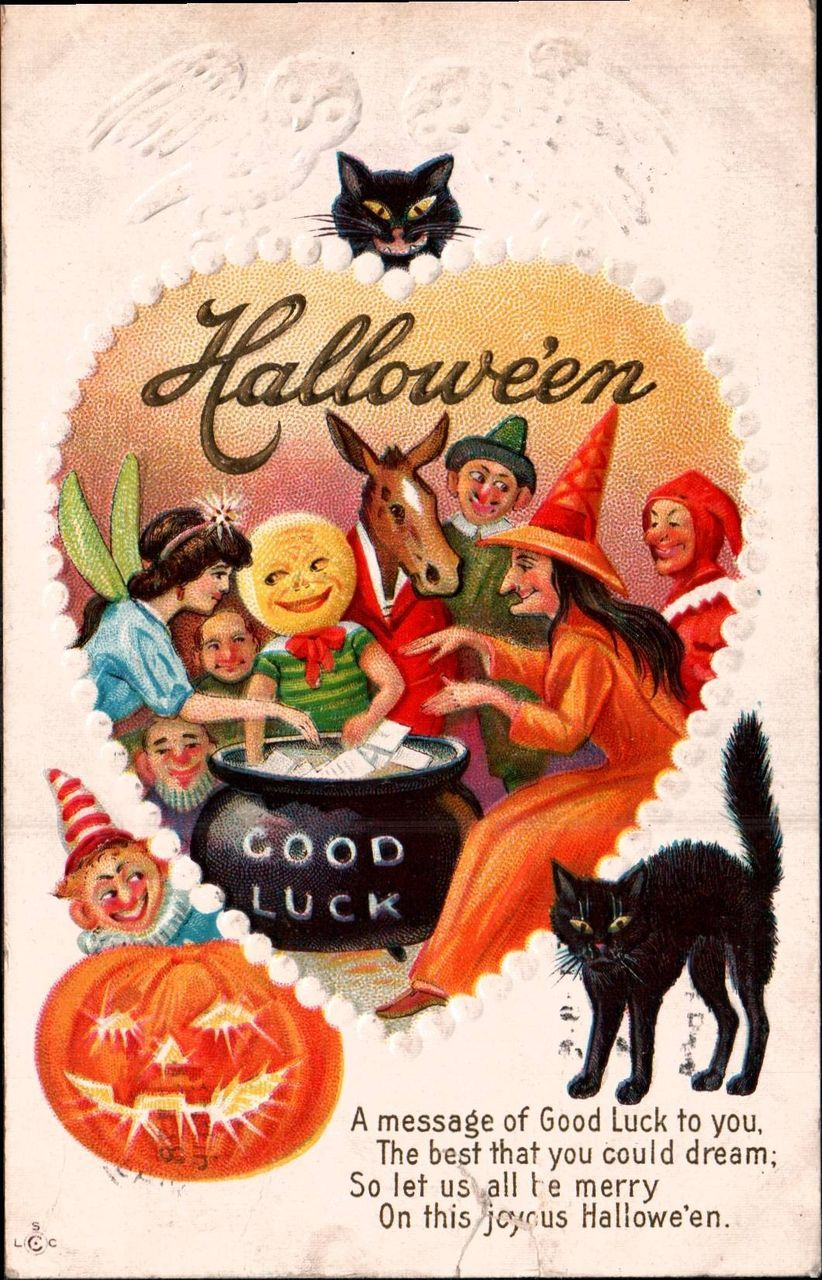Vintage Halloween Postcard Witches Black Cat Fairy Owls
