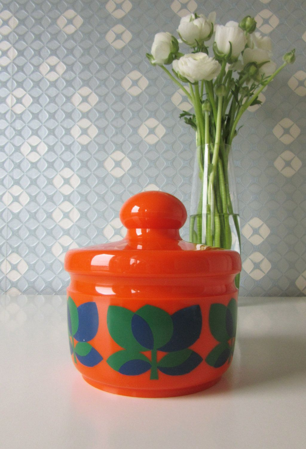 Vintage Plastic Orange, Green and Blue Container Bologna made by Emsa W-Germany 70s door Vantoen op Etsy