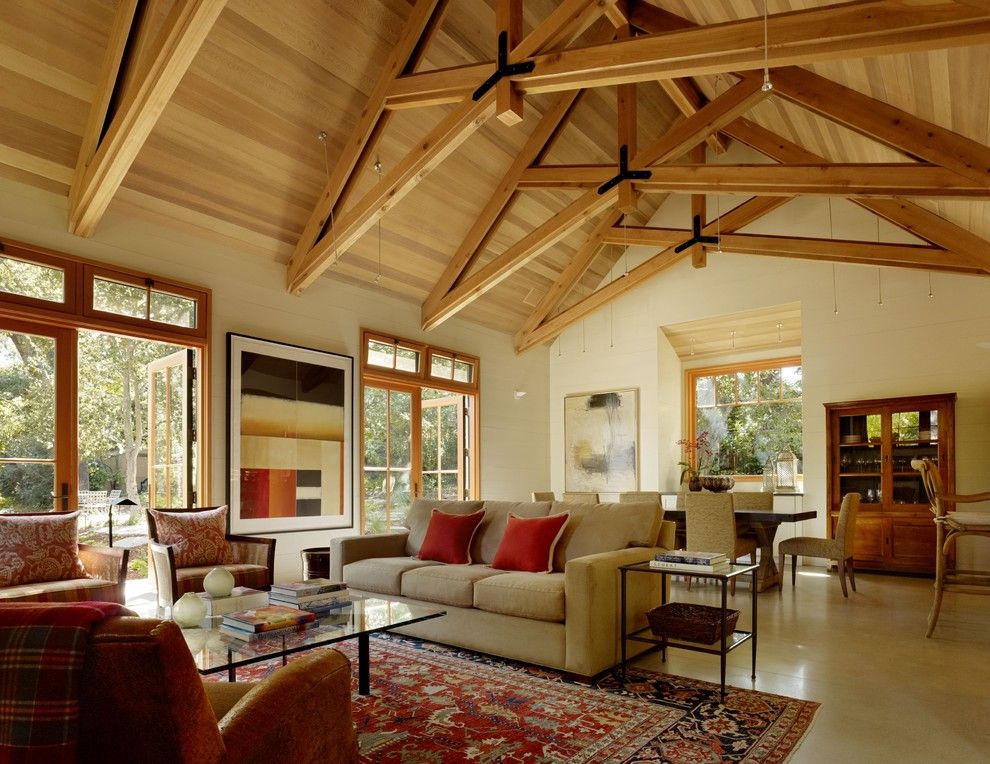 Exposed Truss Ceiling Photos Living Room Traditional With