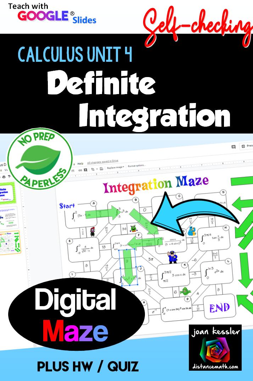 Calculus Integration Interactive Digital Maze Google Slides Distance Learning Calculus Ap Calculus Ab College Math