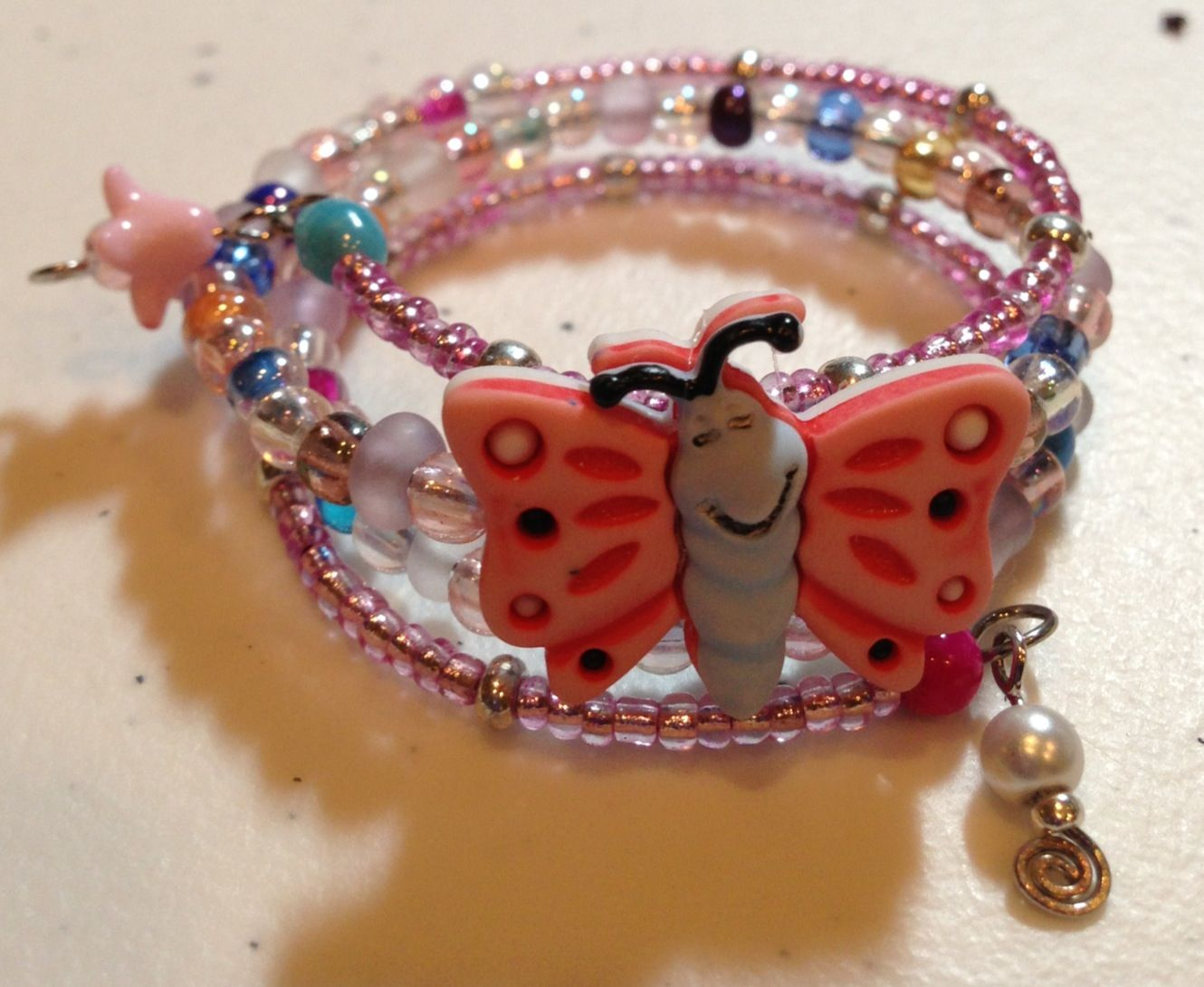 Girls hand made butterfly memory wire bracelet one size fits