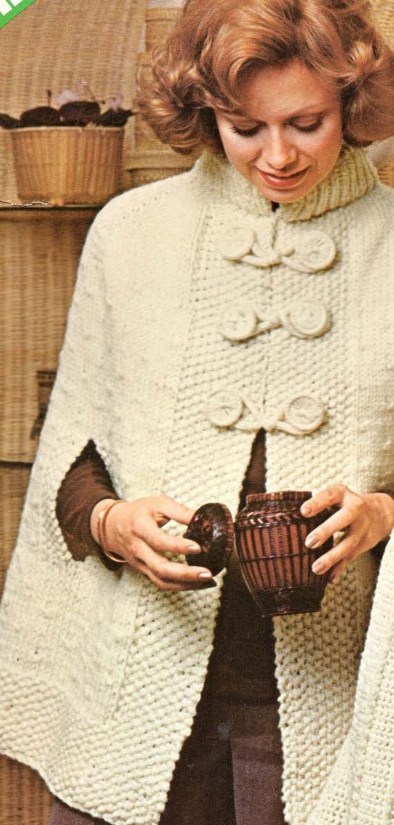 Cape Poncho Knitting Pattern Womens Knitted Long Loopy Poncho Cape