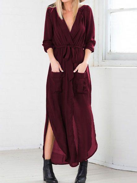eed6414283 Shop Red Deep V Neck Self-Tie Pockets Chiffon Dress online. SheIn ...