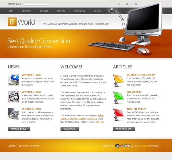 Freewebsitetemplateforitcompanies Webtemplate See More - It web page template
