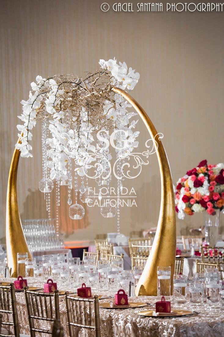 Suhaag Garden Indian Wedding Reception Gold Frames Modern Stage Blush And