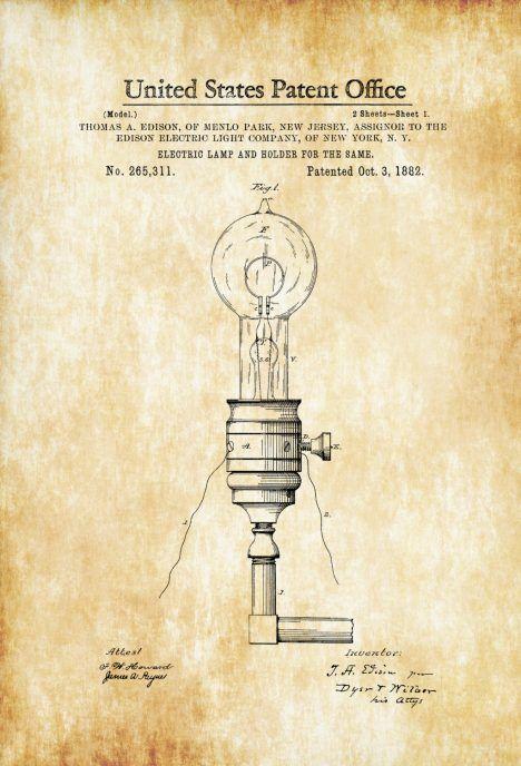 Edison Electric Lamp and Holder Patent 1882 – Light Bulb, Edison ...