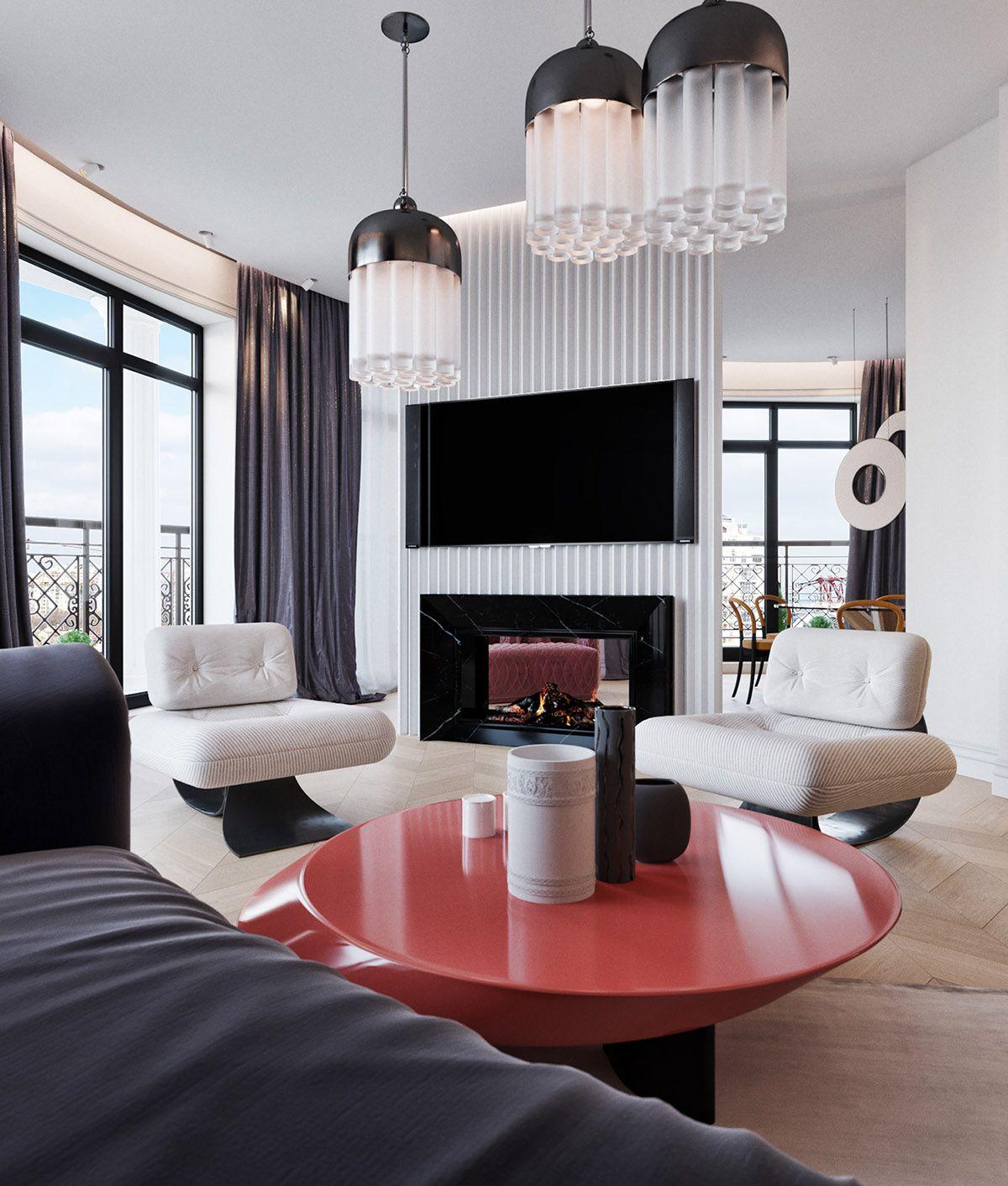 One Space Two Design Options Modern Houses Interior Living Design Furniture Design Living Room