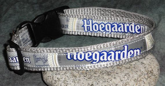 Adjustable Dog Collar from Recycled Hoegaarden beer labels by squigglechick, $18