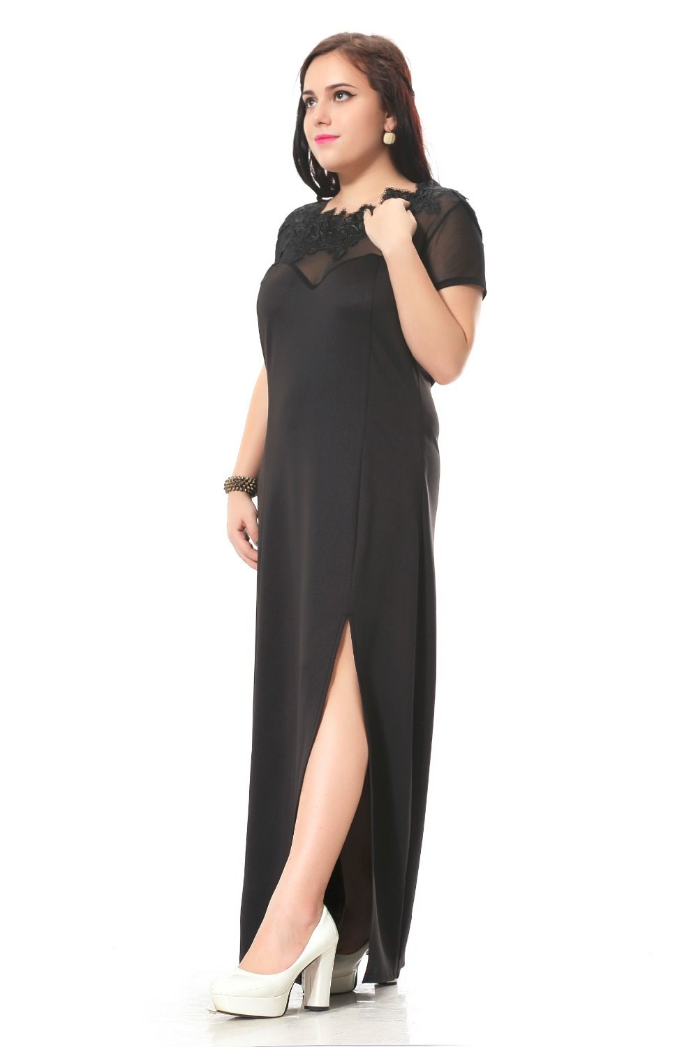 Plus size party dress with lace and net decoration maxi dress with