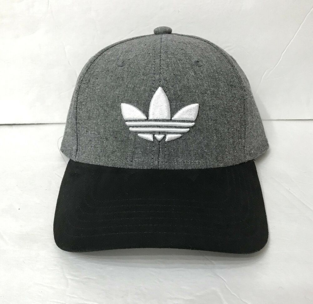 new ADIDAS TREFOIL HAT heather gray white black curved