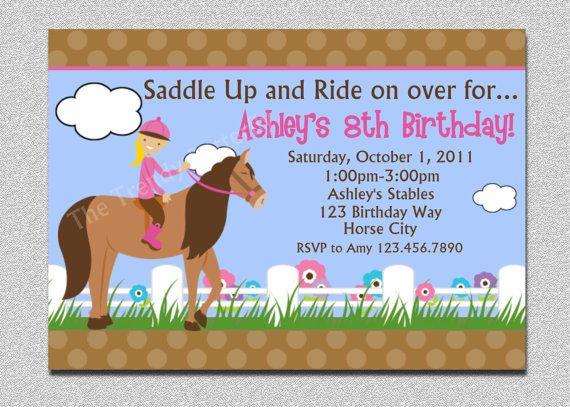 Horseback Riding Birthday Invitation Western Horse Party Invitations Printable 1500 Via Etsy