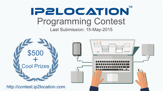 Join IP2Location Programming Contest and Win $500! Find our more at http://contest.ip2location.com/?src=pp2888 #ip2location #contest #programming