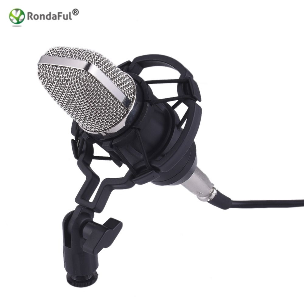 High Quality Professional Bm700 Studio Microphone Speakers 35mm Gaming Condenser Recording Mic For Pc Laptop Komputer Wired Sound Shock Mount Radio Braodcasting Affiliate
