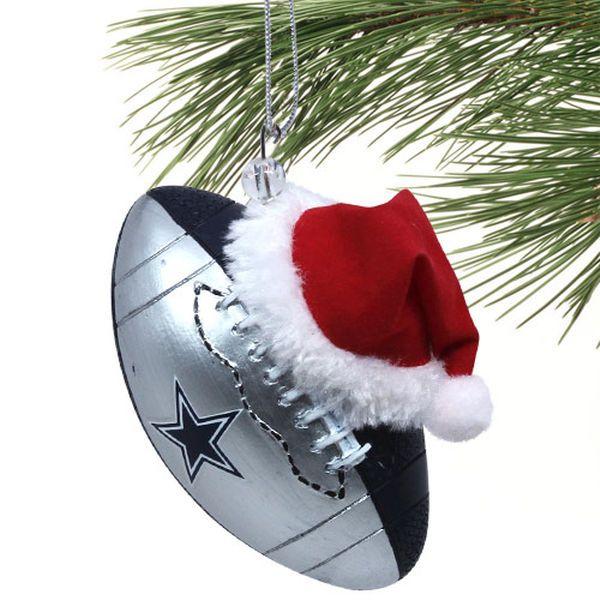 Dallas Cowboys Christmas Hat.Dallas Cowboys Team Ball Ornament With Santa Hat Dallas