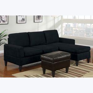 Poundex F7287 Bobkona Black Microfiber Sectional Sofa Set With Ottoman