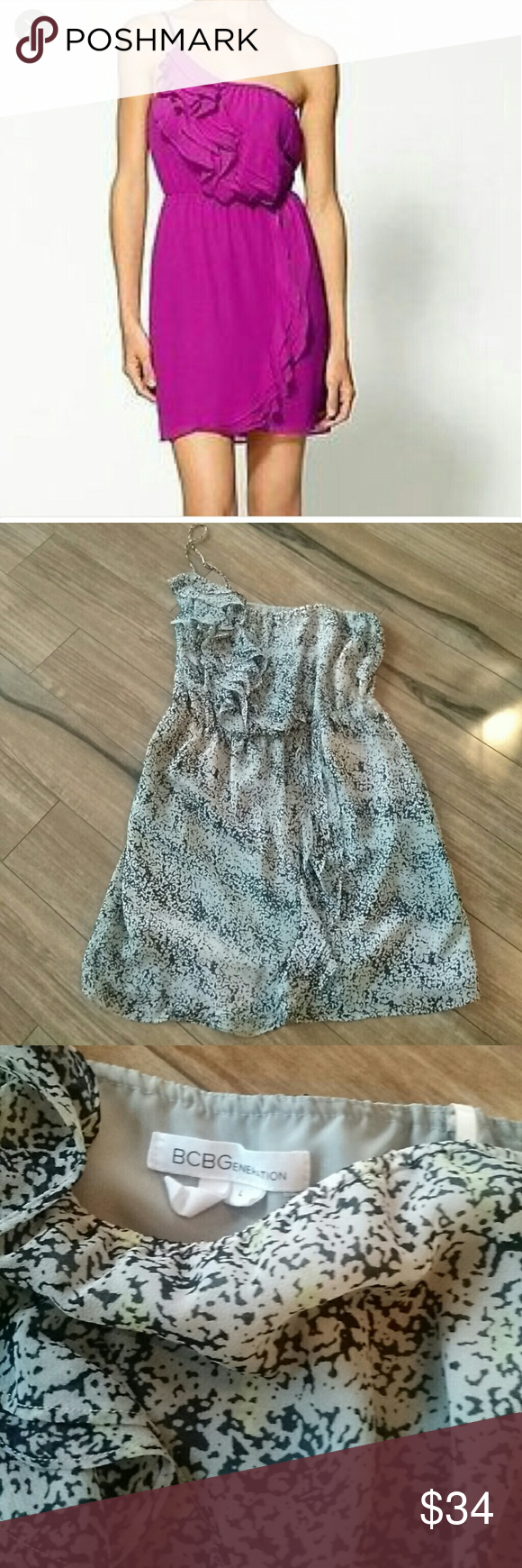 NWOT Bcbgeneration ruffle one shoulder dress! New without tags! Multicolor & lined with pockets dress! One shoulder with ruffle all the way to the bottom of the dress. Great for summer! BCBGeneration Dresses