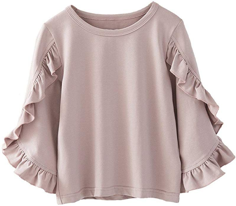 Toddler Baby Girl Ruffle Lantern Sleeve Plain Blouse T-Shirt Top Outfit Clothes